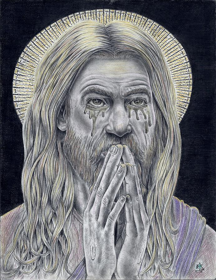 Jesus Drawing - Jesus Crying For Us by Vincnt Clark