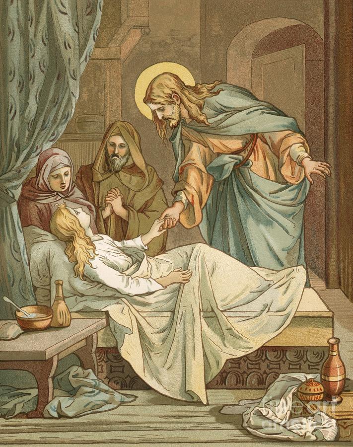 John Lawson Painting - Jesus Raising Jairuss Daughter by John Lawson