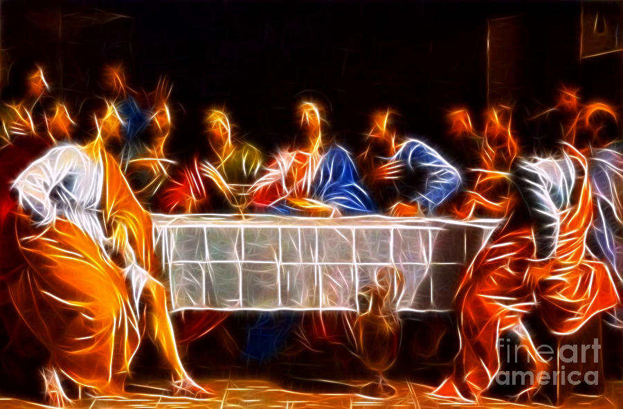 Jesus Christ Last Supper Mixed Media - Jesus The Last Supper by Pamela Johnson