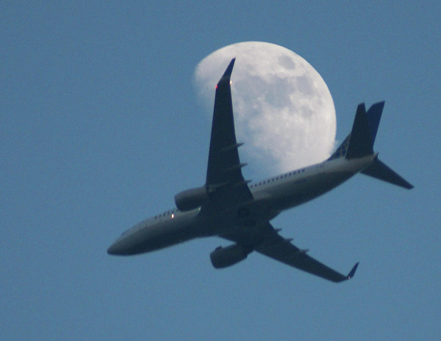 Horizontal Photograph - Jet In Front Of Moon by KM&G-Morris