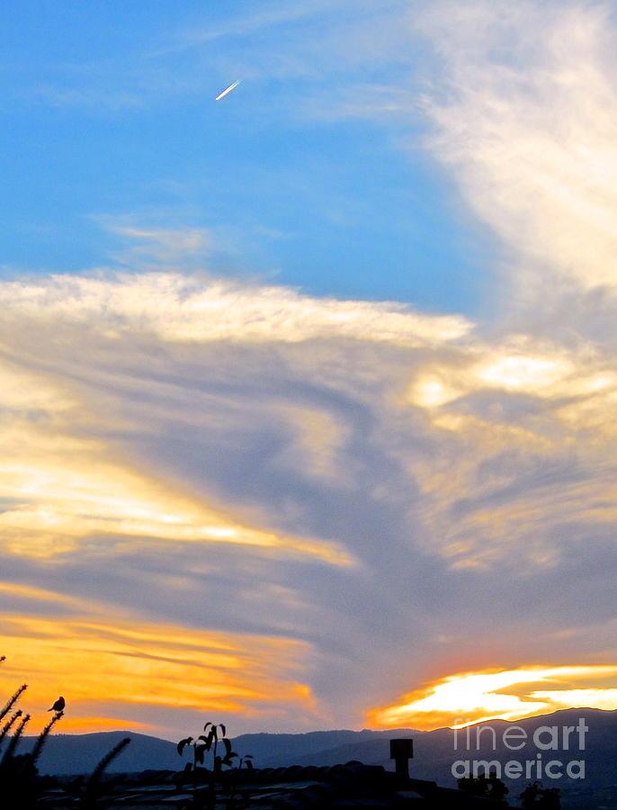 Blue Sky Photograph - Jet Sunset by Phyllis Kaltenbach