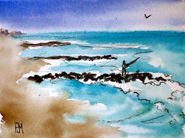 Ocean Painting - Jetty Fishin II by Pete Maier