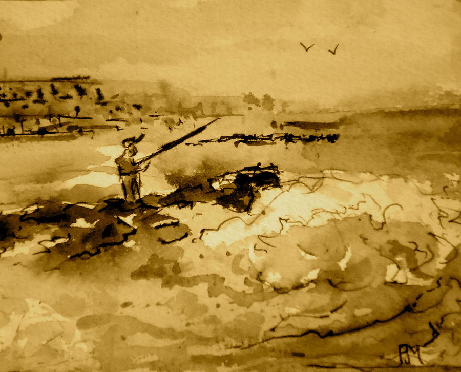 Ocean Painting - Jetty Fishin Sepia by Pete Maier