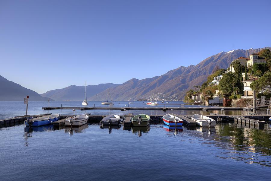 Port Photograph - jetty in Ascona by Joana Kruse