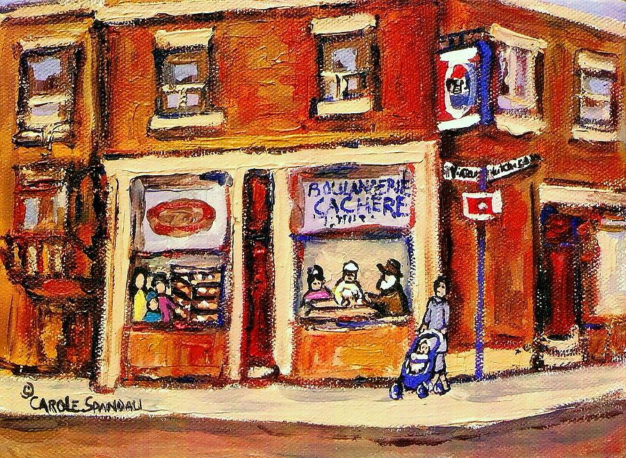 Montreal Painting - Jewish Montreal Vintage City Scenes Hutchison Street Butcher Shop  by Carole Spandau