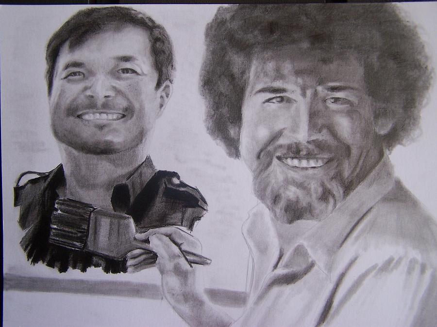 Jim Lee Drawing - Jim Lee And Bob Ross by Luis Carlos A