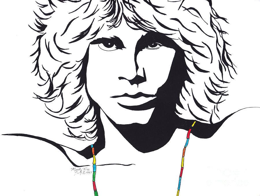 Homes Drawing - Jim Morrison by Marty Rice