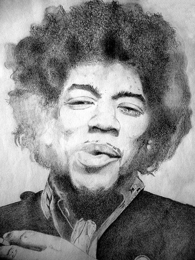 Jimi Hendrix Drawing - Jimi Hendrix - Medium by Robert Lance