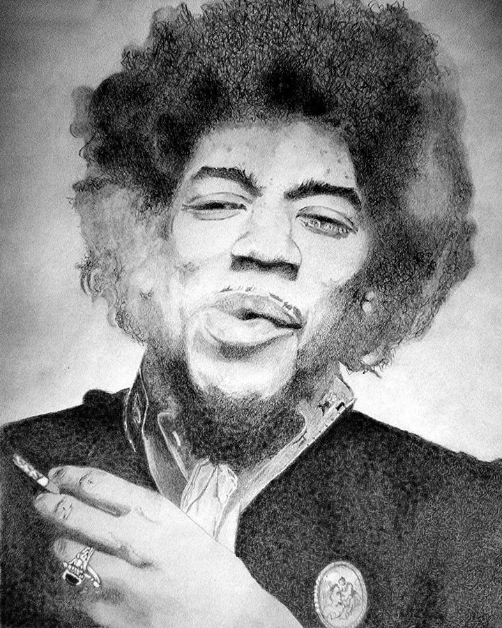 Jimi Hendrix Drawing - Jimi Hendrix - Small by Robert Lance