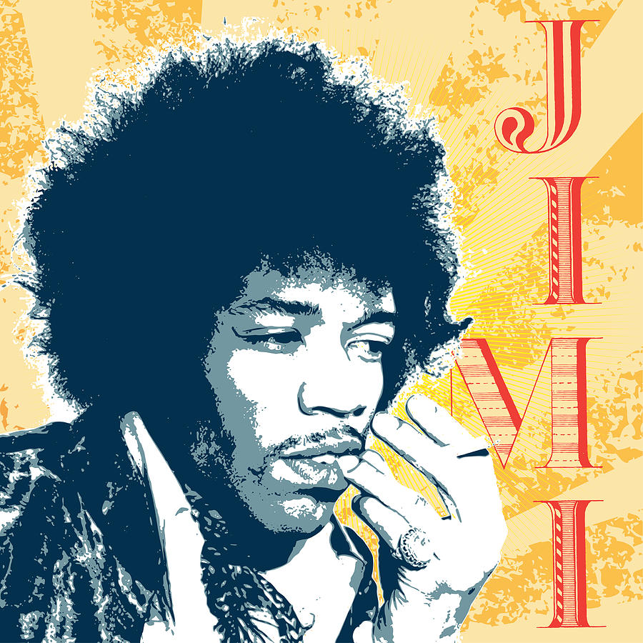 jimi retro style painting by tim towler. Black Bedroom Furniture Sets. Home Design Ideas