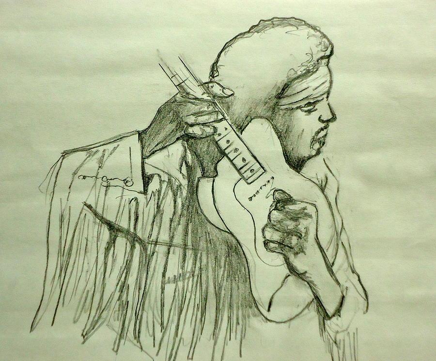 Jimi Hendrix Drawing - Jimi Sketch by Pete Maier