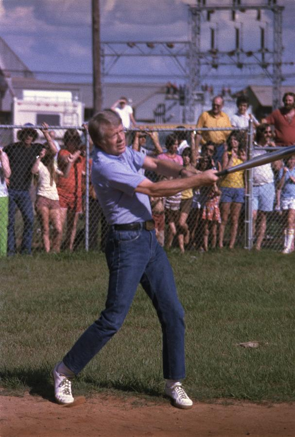 History Photograph - Jimmy Carter At Bat During A Softball by Everett