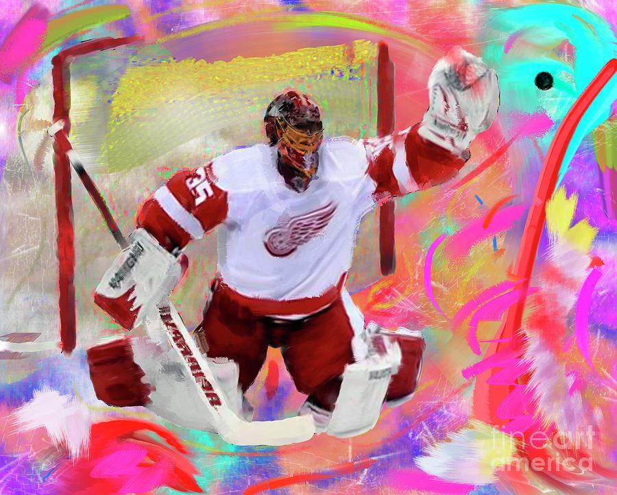 Hockey Painting - Jimmy Howard by Donald Pavlica