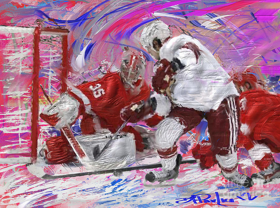 Hockey Painting - Jimmy Howard II by Donald Pavlica