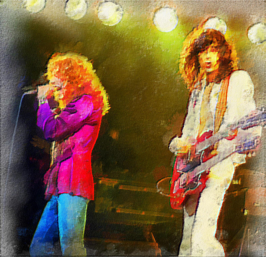 Jimmy Page Digital Art - Jimmy Page And Robert Plant by Galeria Zullian  Trompiz