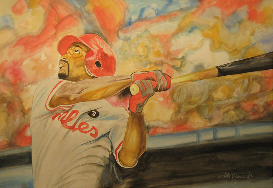 Baseball Painting - Jimmy Rollins by Keith Hancock