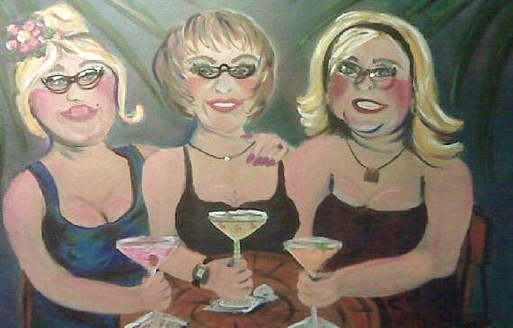 Girls Night Out At Jmacs And The Girls Are Wearing Real Vintage Glasses And Jewels. Painting - Jmacs Girls by Doralynn Lowe