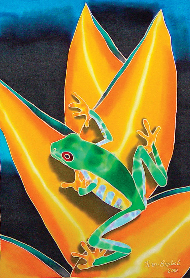 Heliconia Flower Painting - Joes Treefrog by Daniel Jean-Baptiste