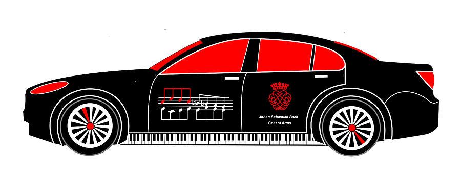 Johan Sebastian Bach Digital Art - Johan Sebastian Bachs Bmw 7 by Asbjorn Lonvig