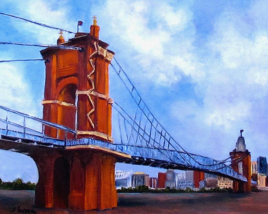 Roebling Bridge Painting - John A. Roebling Bridge by Suzzanna Frank