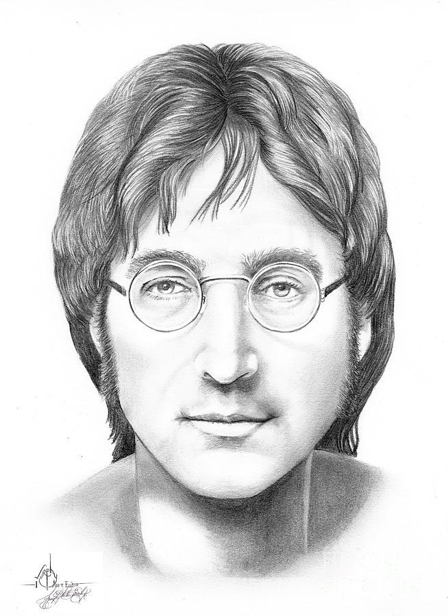 Pencil Drawing - John Lennon by Murphy Elliott