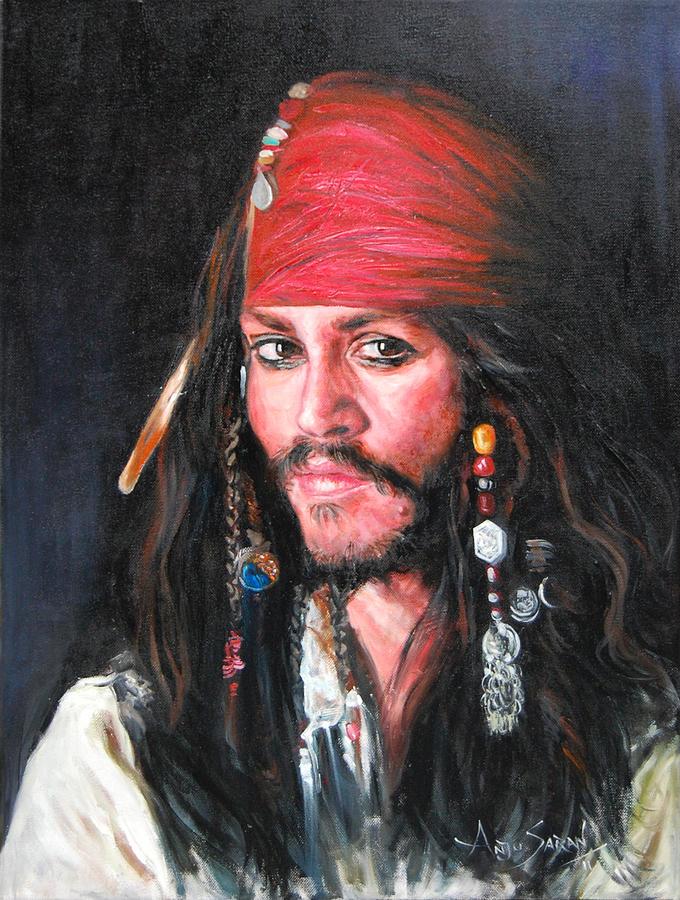 Portrait Painting - Johnny Depp by Anju Saran