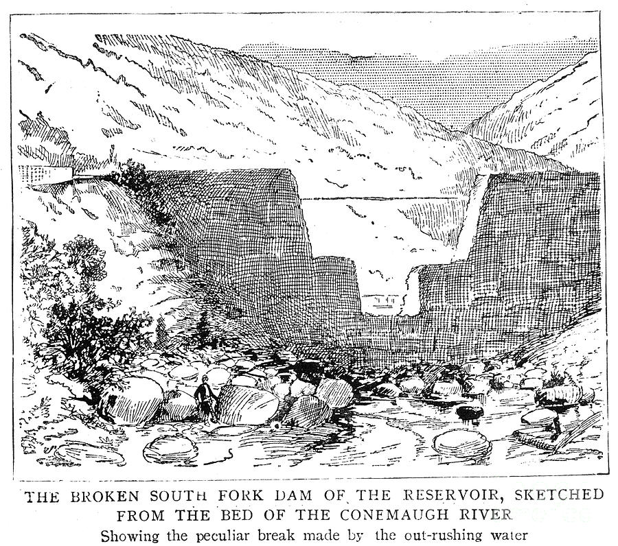 the johnston floods when the south fork dam collapsed The first town to be hit by the flood was south fork the town was on high ground, and most of the people escaped by running up the nearby hills when they saw the dam spill over some 20 to 30 houses were destroyed or washed away, and four people were killed.