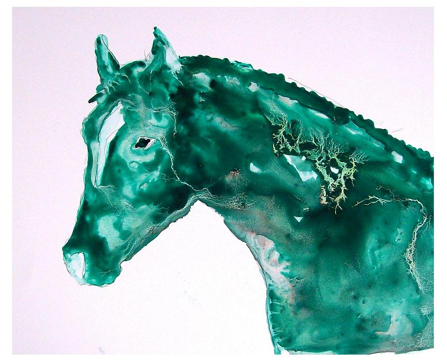 Green Painting - Joker - Study In Green by Sue Prideaux