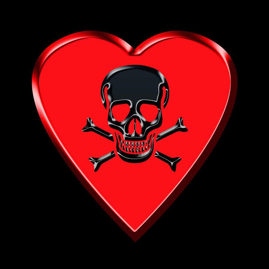Jolly roger shower curtain - Love Photograph Jolly Roger Red Heart By Andrew Fare