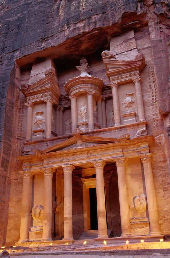 Vertical Photograph - Jordan, Petra, The Treasury by Nevada Wier