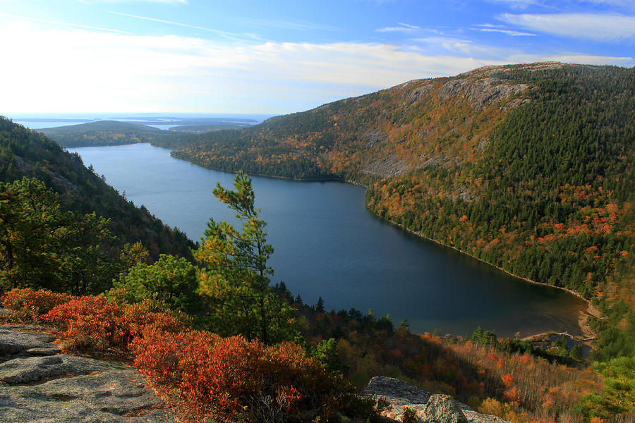 Jordan Pond In Autumn From North Bubble Acadia National Park Photograph by John Burk