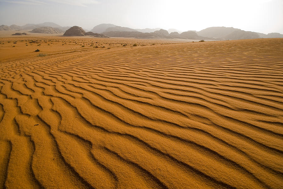 Horizontal Photograph - Jordan Wadi Rum Sand Dunes Pattern by Jason Jones Travel Photography