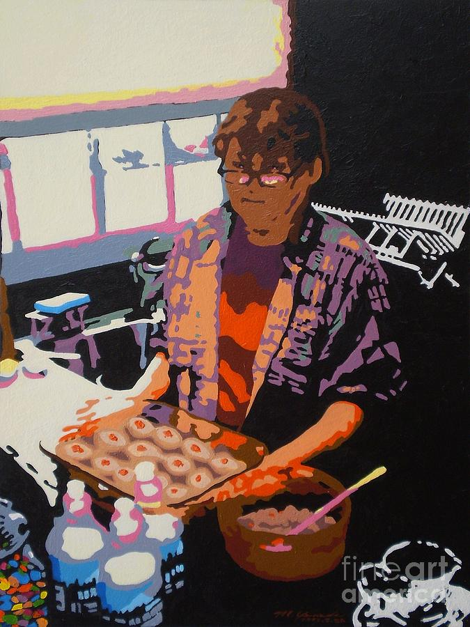 Kitchen Painting - Jos Gefilte Fish by Max Yamada