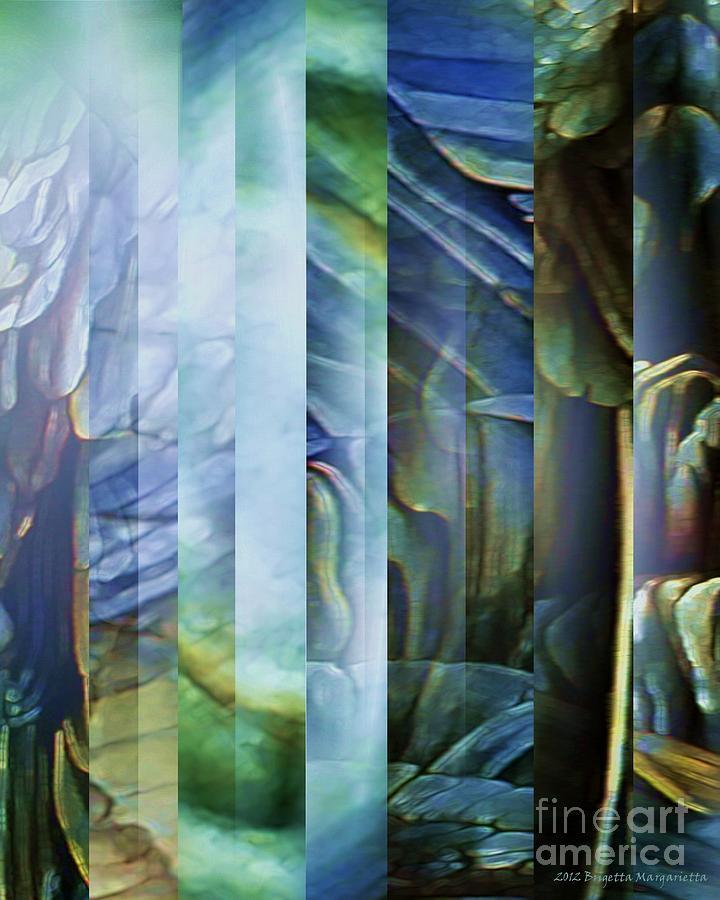 Blue Digital Art - Journey Inward 1 by Brigetta  Margarietta