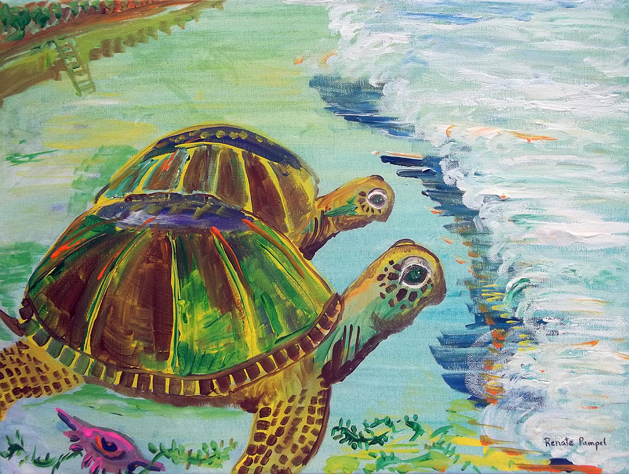 Sea Turtles On The Beach Painting - Journey by Renate Pampel