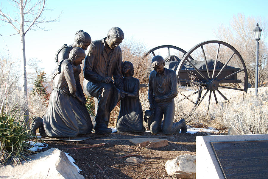 Bronze Sculpture - Journeys End Bronze Handcart Pioneer Family Statue  by Stan Watts