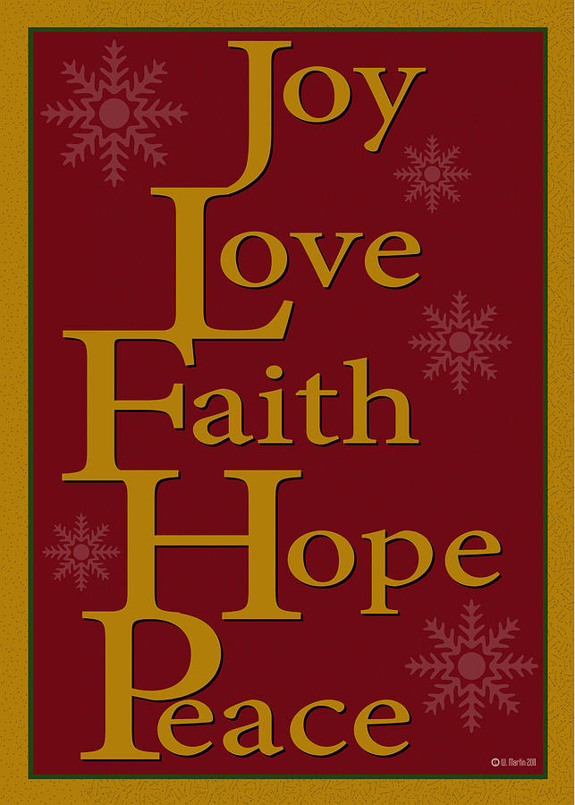 Christmas Card Digital Art - Joy Love Faith Hope Peace Christmas Card by William Martin