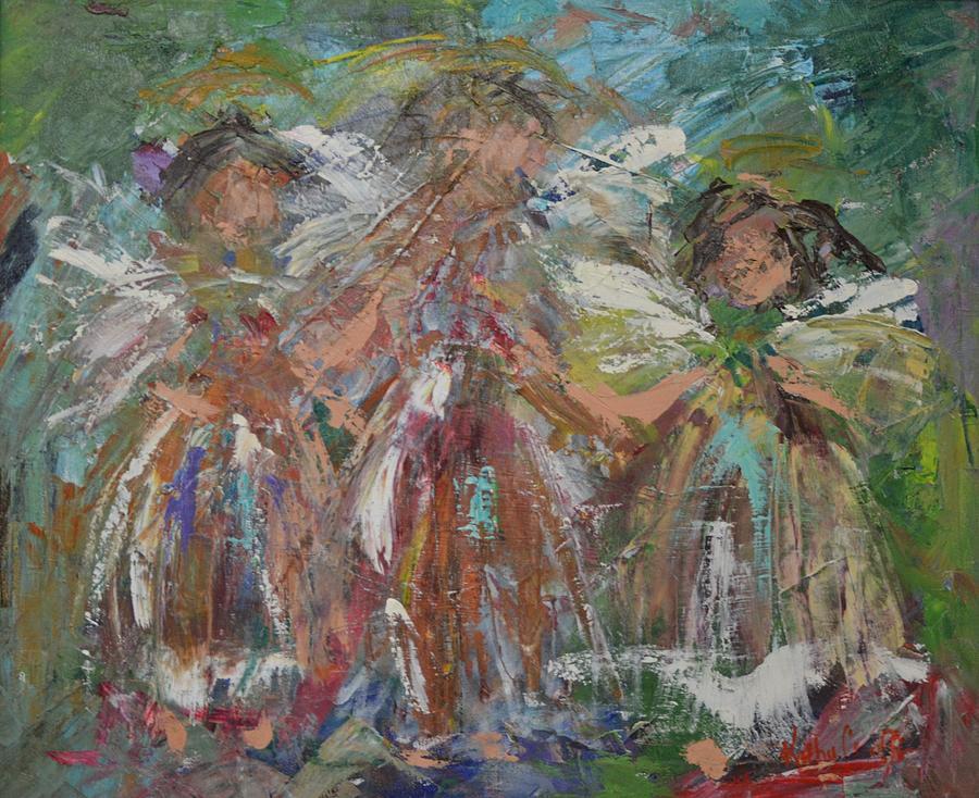 Angels Painting - Joyful Chorus by Kathy  Cuiffi