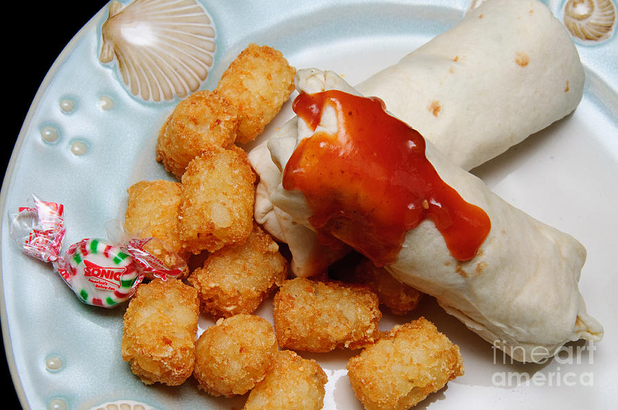 Tater Tots Photograph - Jr Breakfast Burritos And Tots by Andee Design