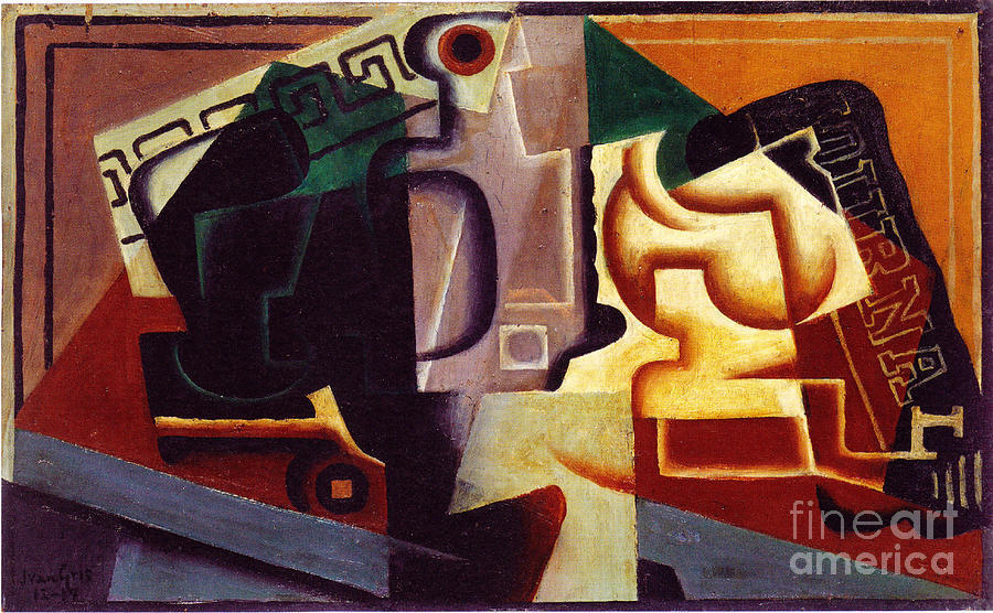 Table Paintings Painting - Juan Gris Glas Und Karaffe by Pg Reproductions