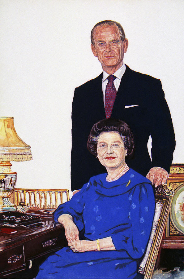 The Queen And Prince Phillip. Painting - Jubilee by Michael Haslam