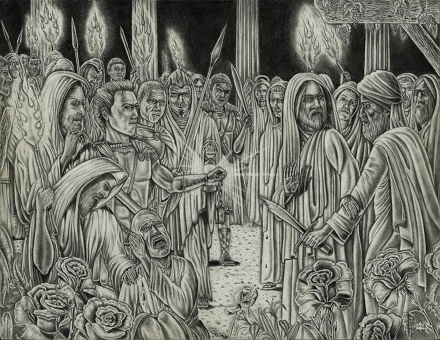 Jesus Drawing - Judas In Garden by Vincnt Clark