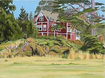 Landscape Painting - Jughandle House by Donald Gazzaniga