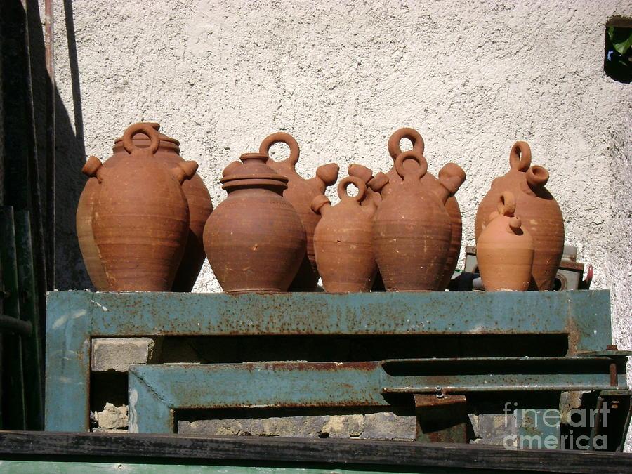 Ceramic Photograph - Jugs On A Shelf by Laurel Fredericks