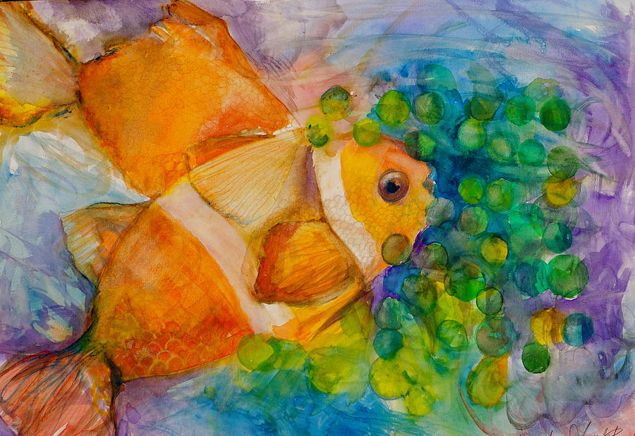 Clownfish Painting - Juicy Snack IIi by Claudia Smaletz