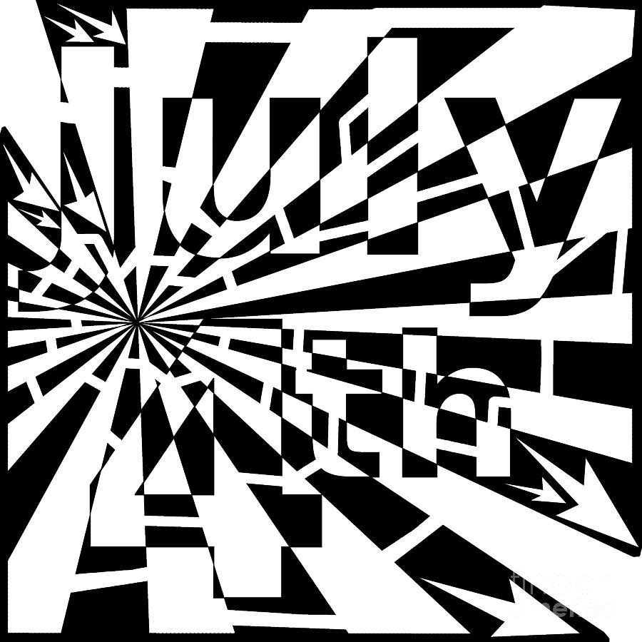 Maze Drawing - July 4th Maze by Yonatan Frimer Maze Artist
