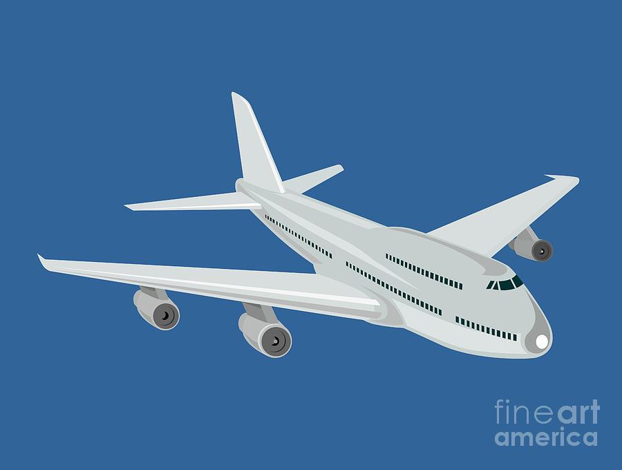 Commercial Digital Art - Jumbo Jet Plane Retro by Aloysius Patrimonio