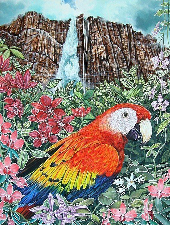 Nature Painting - Jungle Parrot by Kimberlee  Ketterman Edgar