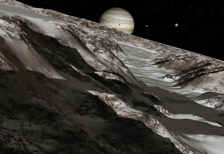 Ganymede Photograph - Jupiter From Ganymede, Artwork by Detlev Van Ravenswaay