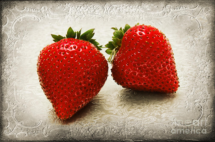 Strawberries Photograph - Just 2 Classic Berries by Andee Design